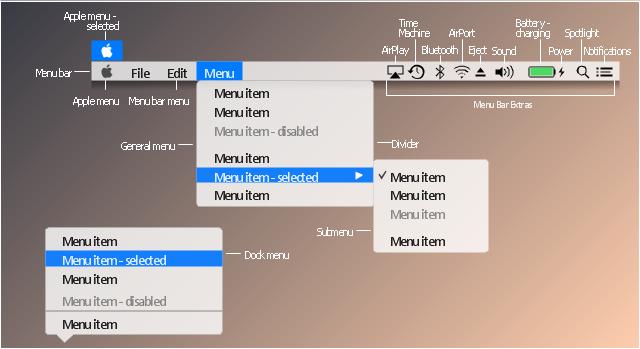 Menu UI icon set, sound, power icon, battery, menu item, menu bar menu, menu bar, main detail arrow, list item, general menu, drop-down menu, eject icon, dock menu, divider, check mark black, bluetooth icon, Time Machine icon, Spotlight icon, Notifications icon, Apple menu, Apple logo button, Apple icon, Mac OS icon, AirPort icon, AirPlay icon,