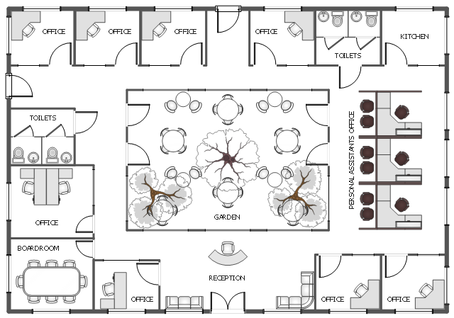 Office floor plan ground floor office plan cafe and for Office layout plan design