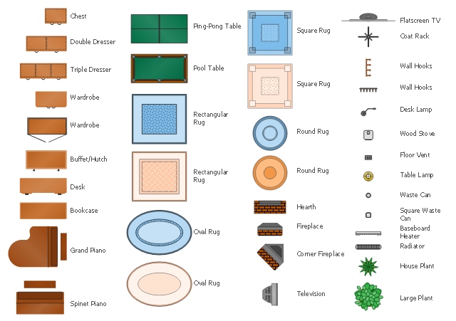 Furniture symbols, wood stove, waste can, wastebasket, wardrobe, wall hooks, triple dresser, television, TV, table lamp, square, waste can, wastebasket, square, blue, rug, square rug, spinet piano, round, orange, rug, round, blue, rug, rectangular, blue, rug, rectangular rug, radiator, pool table, plant, potted plant, ping-pong table, oval, blue, rug, oval rug, hutch, house plant, potted plant, hearth, grand piano, floor vent, flat screen TV, fireplace, double dresser, desk lamp, desk, corner fireplace, coat rack, chest, bookcase, baseboard heater,