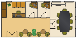 Floor plan, window, casement, wall, tower PC, tower computer, telephone, phone, round corner, room, plant, potted plant, marker board, keyboard, house plant, potted plant, file, double door, door, desktop PC, desktop, desktop computer, desk, chair, boat shape table, table, chair with arms, chair, bookcase, bistro set, PC monitor, computer monitor, monitor,