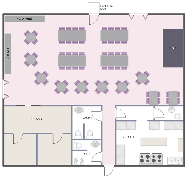 Function hall floor plan banquet hall plan cafe and for Restaurant planning software