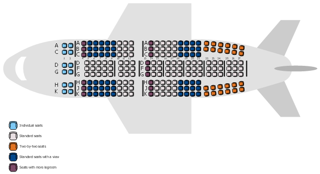Aircraft seat map, chair, border,