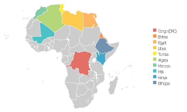 Africa thematic map template,