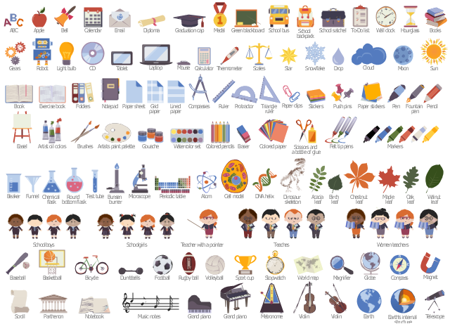 Educational color icons, world map, watercolor set, walnut tree leaf, wall clock, volleyball, violin, violin bow, violin bow, violin, triangle ruler, to-do list, thermometer, test tube, test-tube, telescope, teacher, schoolmarm, teacher pointer, teacher, schoolmarm, teacher, tablet computer, sun, stopwatch, star, sport cup, golden cup, champion cup, winner cup, snowflake, scroll, scissors, glue bottle, schoolgirl, schoolboy, pupil, school satchel, schoolbag, school bag, portfolio, school bus, school backpack, schoolbag, school bag, scales, ruler, rugby ball, rugby league football, American football, round bottom flask, robot, push pins, push pin, protractor, plastic jars with colored gouache, periodic table, pencil, pen, ballpen, ball pen, paper stickers, paper sheet, paper clips, paper clip, open book, oak tree leaf, notepad, notebook, exercise book, drawing block, music notes, musical symbols, music staff, treble clef, mouse, bluetooth notebook mouse, wireless mobile mouse, moon, microscope, metronome, medal with ribbon, marker, maple tree leaf, magnifier, loupe, magnet, u-shaped magnet, horseshoe magnet, lined paper sheet, light bulb, laptop computer, hourglass, grid paper sheet, green blackboard, school board, teacher pointer, chalk, sponge, grand piano, graduation cap, square academic cap, master's cap, globe, gears, funnel, fountain pen, football, folders, paper folder, document folder, felt tip pens, exercise book, notebook, eraser, email, easel, earth's internal structure, earth, dumbbells, drop, dna double helix, diploma, dinosaur skeleton, compasses, compass, colored pencils, colored paper, cloud, chestnut tree leaf, chemical flask, conical flask, cell model, cd, calendar, wall calendars, calculator, bunsen burner, brushes, paintbrush, books, birch tree leaf, bicycle, bell, beaker, basketball, basketball basket, backboard basketball, baseball, baseball bat, baseball, atom, artists paint palette, artist oil colors, arrowed callout, ribbon callout, apple, ac