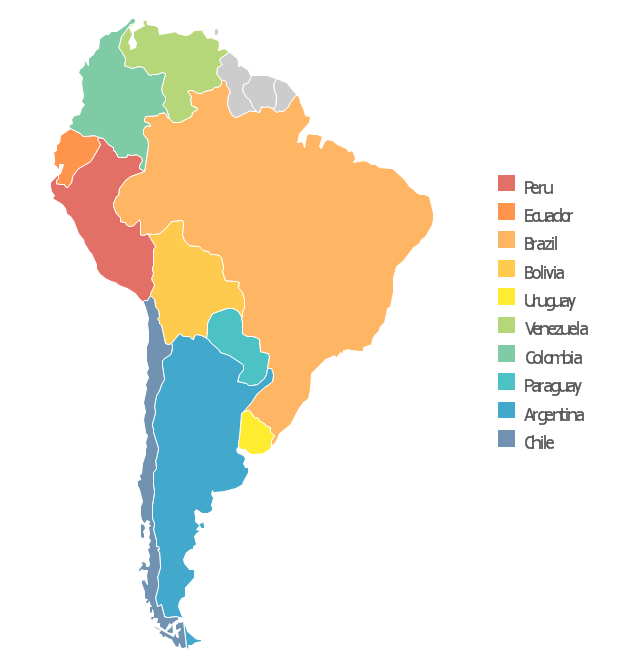 Languages of South America - Thematic map | North America map ... on