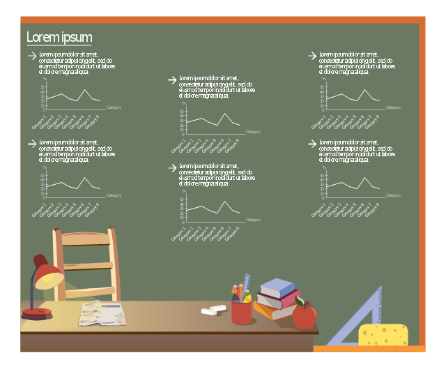 Educational infogram template, line chart, line graph, education infographics background, colored pencil, callout with divider, bullet symbol, books, apple,