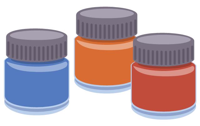 Gouache, plastic jars with colored gouache,
