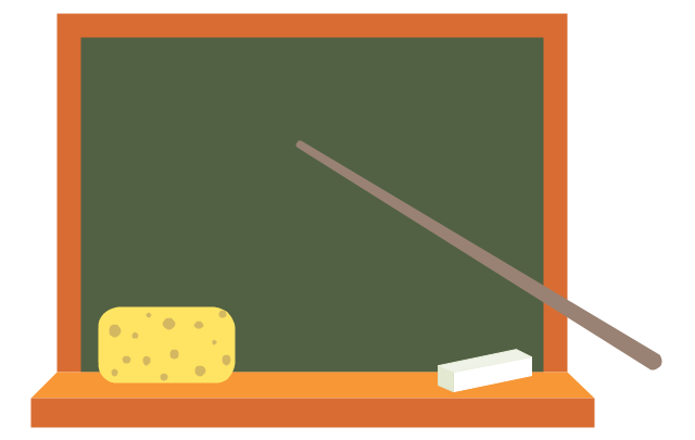 Green blackboard, green blackboard, school board, teacher pointer, chalk, sponge,