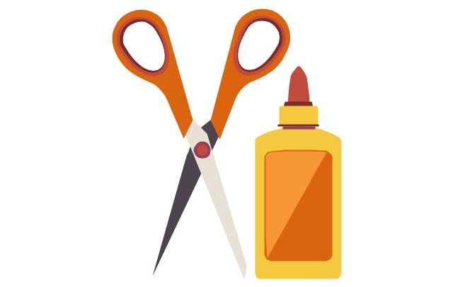 Scissors and a bottle of glue, scissors, glue bottle,