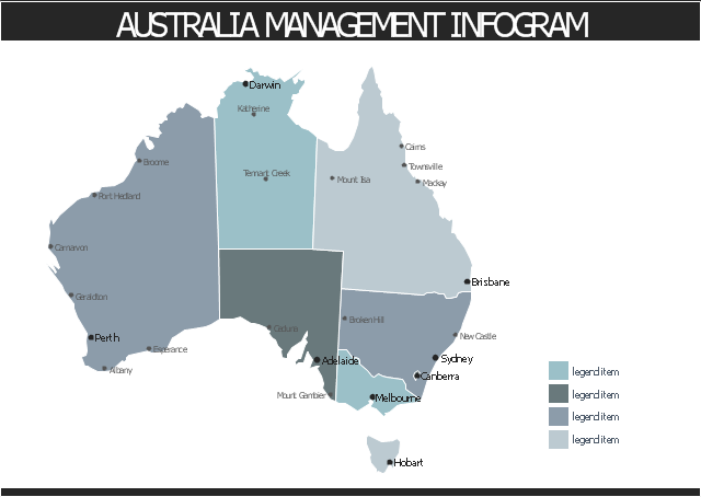 Australia thematic map template, title text block, management infographics background, callout with divider, Western Australia, Victoria, Tasmania, South Australia, Qeensland, Nothern Territory, New South Wales, Australian Capital Territory, Australia,