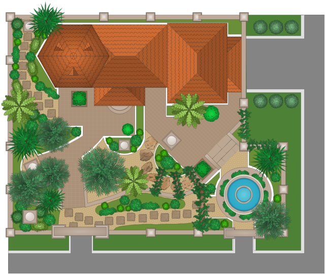 Garden design, walkway stones, tiled roof, hip end, tiled hip roof, straight fence, stone stairs, stair railings, stone stairs, stone arch, statue, round fountain, rectangular plot without fence, patio, palm, fountain-shaped tree, palm, ivy, climbing plants, ivy arch, hexagonal gazebo roof, tiled roof, garden path stone, garden grass, dormer window, eyebrow window, triangular dormer, cypress, column (square), column, bush, shrub, angle fence,