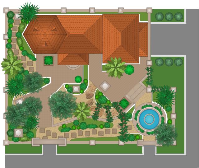 Garden Design Walkway Stones Tiled Roof Hip End
