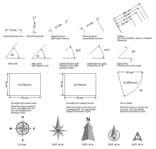Dimension shapes, north arrow, dimensioning, sector measure, dimensioning, rectangular plot measure, dimensioning, dimension arrows, dimensioning, dimension angle, dimensioning, aligned dimension, dimensioning, compass, baseline, dimensioning,