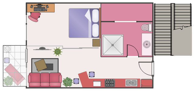 Floor plan, window, casement, water cooler, wall, vanity sink, toilet, square table, table, sofa, sliding glass, sink, shower, sectional chaise lounge, right arm, scissor staircase, round stool, room divider, room, rolling chair, rectangular, blue, rug, rectangular table, table, plant, potted plant, opening, microwave oven, house plant, potted plant, gas range, stretchable, food cooler, flat screen, TV, double bed, door, desktop PC, desktop, desktop computer, bent counter, Georgian conservatory,