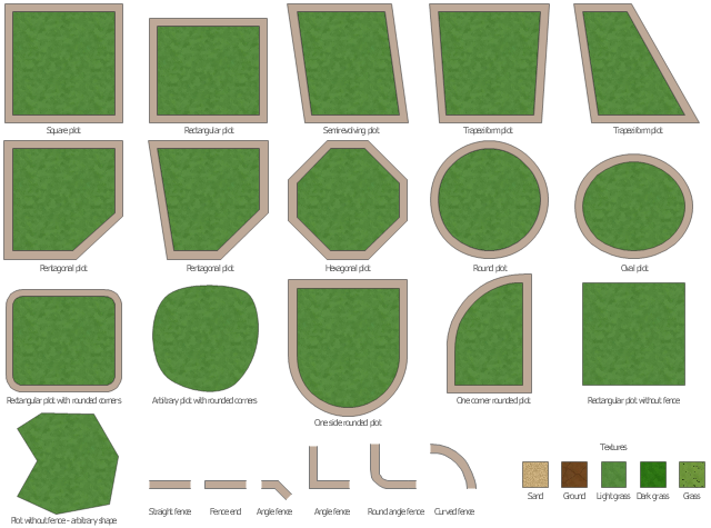 Plots and fences icons, trapeziform plot, straight fence, square plot, semirevolving plot, sand texture, rounded plot, round plot, round angle fence, rectangular plot without fence, rectangular plot with rounded corners, rectangular plot, plot without fence, pentagonal plot, oval plot, one side rounded plot, light grass texture, hexagonal plot, ground texture, grass texture, fence end, dark grass texture, curved fence, arbitrary plot, angle fence,