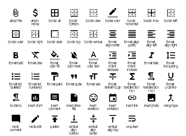 Editor system icons, wrap text icon, vertical align top icon, vertical align center icon, vertical align bottom icon, publish icon, mode edit icon, mode comment  icon, merge type icon, insert photo icon, insert link icon, insert invitation icon, insert emoticon icon, insert drive file icon, insert comment icon, insert chart icon, functions icon, format underline icon, format textdirection r to l icon, format textdirection l to r icon, format strikethrough icon, format size icon, format quote icon, format paint icon, format list numbered icon, format list bulleted icon, format line spacing icon, format italic icon, format indent increase icon, format indent decrease icon, format color text icon, format color reset icon, format color fill icon, format clear icon, format bold icon, format align right icon, format align left icon, format align justify icon, format align center icon, border vertical icon, border top icon, border style icon, border right icon, border outer icon, border left icon, border inner icon, border horizontal icon, border color icon, border clear icon, border bottom icon, border all icon, attach money icon, attach file icon,
