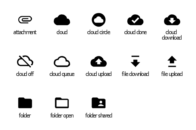 File system icons, folder shared icon, folder open icon, folder icon, file upload icon, file download icon, cloud upload icon, cloud queue icon, cloud off icon, cloud icon, cloud download icon, cloud done icon, cloud circle icon, attachment icon,