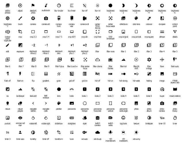 System icons of image processing, wb sunny icon, wb irradescent icon, wb incandescent icon, wb cloudy icon, wb auto icon, tune icon, transform icon, tonality icon, timer off icon, timer icon, timer auto icon, timer 3 icon, timer 10 icon, timelapse icon, texture icon, tag faces icon, switch video icon, switch camera icon, style icon, straighten icon, slideshow icon, rotate right icon, rotate left icon, remove red eye icon, portrait icon, photo library icon, photo icon, photo camera icon, photo album icon, panorama wide angle icon, panorama vertical icon, panorama icon, panorama horizontal icon, panorama fisheye icon, palette icon, navigate next icon, navigate before icon, nature people icon, nature icon, movie creation icon, loupe icon, looks two icon, looks 2 icon, looks one icon, looks 1 icon, looks icon, looks 6 icon, looks 5 icon, looks 4 icon, looks 3 icon, lens icon, leak remove icon, leak add icon, landscape icon, iso icon, image icon, image aspect ratio icon, healing icon, hdr weak icon, hdr strong icon, hdr on icon, hdr off icon, grid on icon, grid off icon, grain icon, gradient icon, flip icon, flash on icon, flash off icon, flash auto icon, flare icon, filter vintage icon, filter tilt shift icon, filter none icon, filter icon, filter hdr icon, filter frames icon, filter drama icon, filter center focus icon, filter b and w icon, filter 9 plus icon, filter 9 icon, filter 8 icon, filter 7 icon, filter 6 icon, filter 5 icon, filter 4 icon, filter 3 icon, filter 2 icon, filter 1 icon, exposure zero icon, exposure plus 2 icon, exposure plus 1 icon, exposure minus 2 icon, exposure minus 1 icon, exposure icon, edit icon, details icon, dehaze icon, crop square icon, crop portrait icon, crop original icon, crop landscape icon, crop icon, crop free icon, crop din icon, crop 7 5 icon, crop 5 4 icon, crop 3 2 icon, crop 16 9 icon, control point icon, control point duplicate icon, compare icon, colorize icon, color lens icon, collections icon, center focus weak icon, ce