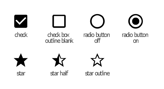 Toggle system icons, star outline icon, star icon, star half icon, radio button on icon, radio button off icon, check box outline blank icon, check box icon,