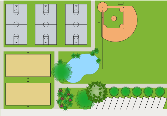 Pitches site plan, volleyball court, succulent, potted plant, parking strip, kidney-shaped pool, pool, deciduous tree, deciduous shrub, corner curb, broadleaf evergreen tree, basketball court, baseball diamonds,