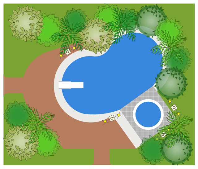 Site plan, wood hot tub, fiberglass spa, spa, site light, palm tree, kidney-shaped pool, pool, driveway rounded, diving board, deciduous tree, broadleaf evergreen tree,