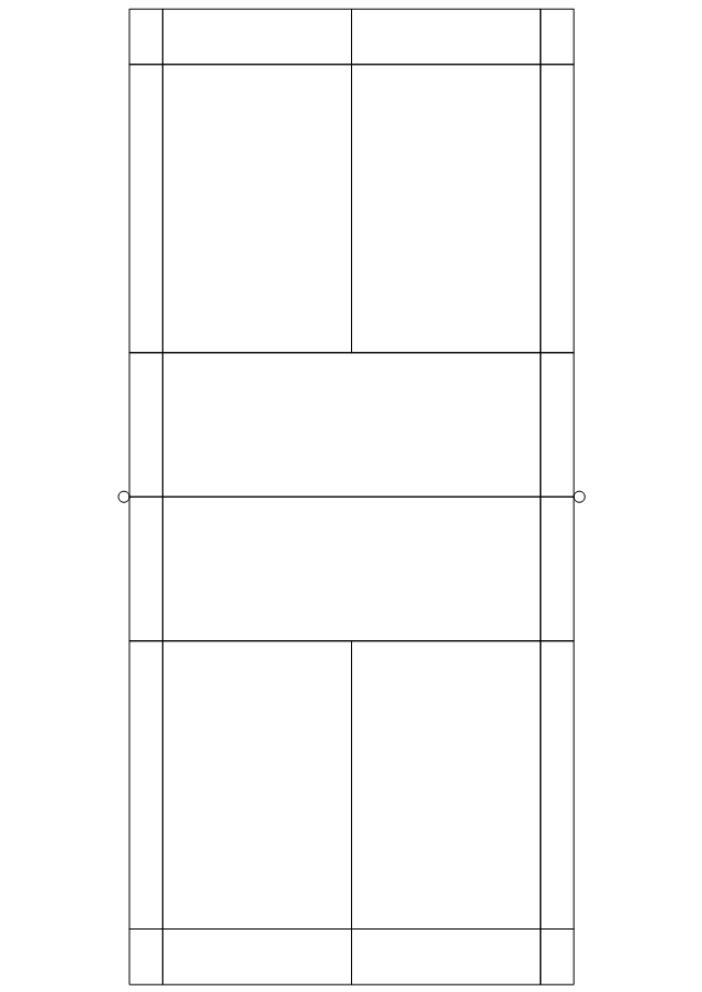 Blank badminton court diagram