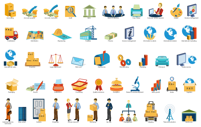 Department symbols for sales workflow diagrams, warehouse, telecommunication, suppliers, shipping, security, scales, sales growth, research and development, reception, receiving, quality assurance, purchasing, publications, payroll, packaging, online service, motorpool, marketing, manufacturing, management, mail service, mail room, legal department, inventory, international sales, international marketing, international division, information systems, finance, facilities, engineering, employee, distribution, devices management, design, data center, customer service technician, customer service operator, copy center, board of directors, bank, audit, accounts receivable, accounts payable, accounting, Human resource, Delivery,