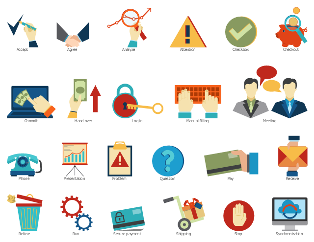 Workflow step symbols, synchronization, stop, shipping, secure payment, run, refuse, receive, question, problem, presentation, phone, pay, meeting, manual filling, log in, hand over, commit, checkout, checkbox, attention, analyze, agree, accept,