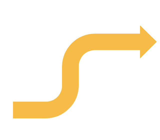 Curving directional arrow, curving directional arrow,