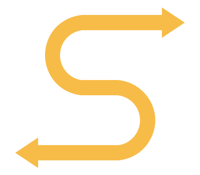 S-shaped arrow, s shaped arrow,