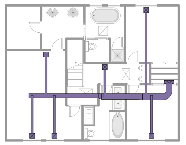 HVAC floor plan, window, casement, wall, variable bend, duct, toilet, supply, duct, straight staircase, straight duct, shower, room, pocket door, offset, transitioning, reducing, duct, hand rail, handrail, freestanding, bath, double vanity sinks, double bi-fold door, double basin, door, by-pass door, bath tub,