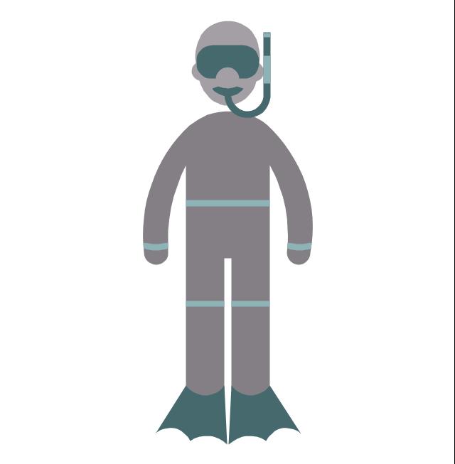 Diver, diver, profession icon,