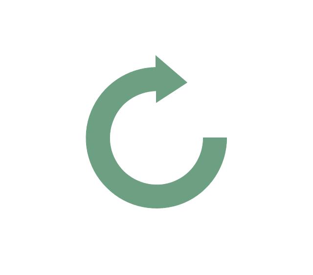 Clockwise arrow, clockwise rotating arrow,
