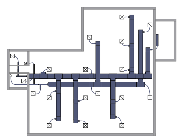 HVAC floor plan, wall, transitioning, reducing, duct, supply, duct, straight duct, return, duct, junction, duct,