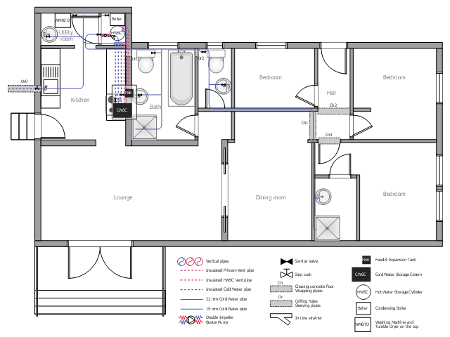 Plumbing and piping plan, window, casement, wall, vertical duct, toilet, stair section, sink unit, shower, screw-down valve, lock-shield valve, reel valve, valve, stop cock, pump, ornamental stair, ornamental staircase, hand rail, handrail, globe valve, valve, electrical device, double pocket door, double door, door, countertop sink, oval-shaped sink, cooker, oven, built-in, bath, boiler, tank, Y strainer,
