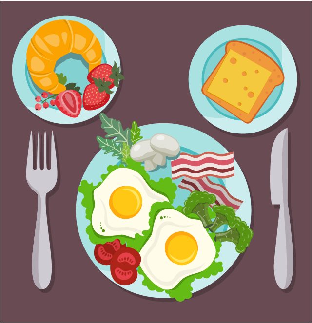 Meals illustration, strawberry, strawberry fruit, garden strawberry, sandwich, red currant, red currant fruit, redcurrant, mushroom, champignon mushroom, common mushroom, button mushroom, white mushroom, cultivated mushroom, table mushroom, fried egg, broccoli, bacon, fresh bacon, arugula, salad rocket, rucola, rucoli, rugula, colewort, roquette,