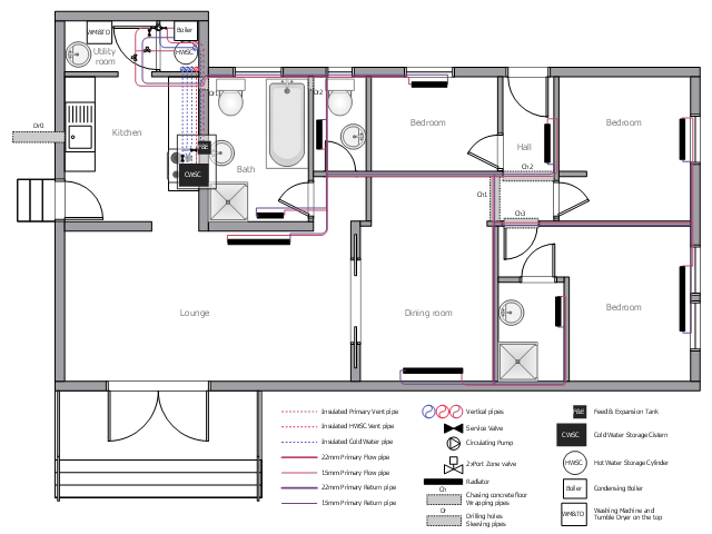 Plumbing and piping plan, window, casement, wall, vertical duct, toilet, stair section, sink unit, shower, radiator, pump, powered valve, valve, ornamental stair, ornamental staircase, hand rail, handrail, globe valve, valve, double pocket door, double door, door, countertop sink, oval-shaped sink, cooker, oven, built-in, bath, boiler, tank,
