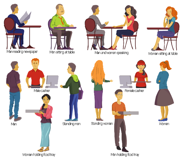 Food court clipart, woman sitting at table, cafe, woman holding food tray, woman holding pizza box, cafe, standing woman, cafe, standing man, cafe, man sitting at table, cafe, man reading newspaper, cafe, table, man holding food tray, man holding pizza box, cafe, man and woman speaking, table, cafe, fast food, male cashier, food court, cafe, cash register, fast food, female cashier, food court, cafe, cash register,