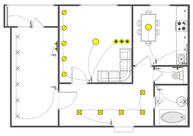 Apartment RCP Ground floor RCP RCP Computer lab  : pict lighting scheme apartment rcppng diagram flowchart example from www.conceptdraw.com size 640 x 452 png 42kB