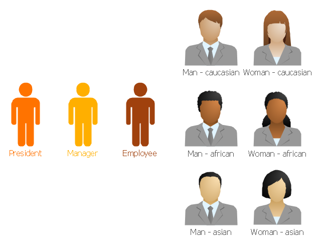 Clipart and pictograms, president, manager, employee, caucasian woman, caucasian man, asian woman, asian man, african woman, african man,