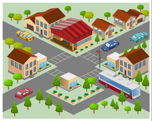 3D pictorial street map, tree, signal light, lights, traffic light, road, mini shop, food stall, house, cottage, house, grocery store, supermarket, garage, fir tree, crosswalks, cottage, corner, car, bus,