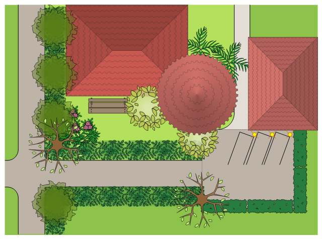 Landscape and garden design, tiled hip roof, succulent, round roof, tiled roof, tower, potted plant, perennial border, parking stall, palm tree, lamp post, intersection, groundcover, deciduous tree, corner curb, broadleaf evergreen tree, broadleaf evergreen shrub, bench,