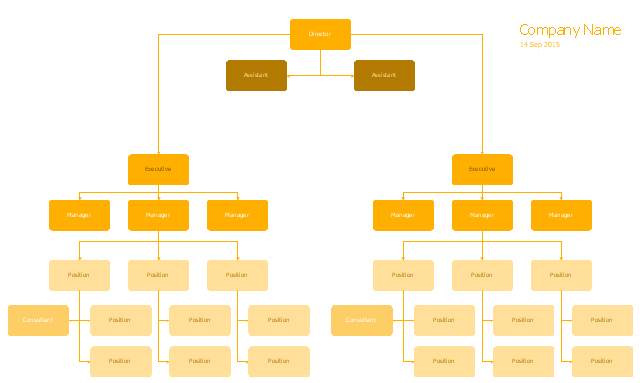 Hierarchical org chart template, title, date, position, manager, executive, consultant, assistant,