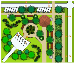 Landscape and garden design, succulent, site light, round roof, tiled roof, tower, potted plant, parking strip, parking stall, palm tree, manhole, lamp post, intersection, groundcover, driveway rounded, deciduous tree, deciduous shrub, broadleaf evergreen shrub, bollard line, bench,