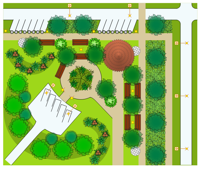 Design elements trees and plants landscape garden for Site plan design software