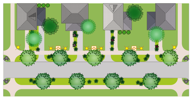 Landscape and garden design, tiled roof, hip end, tiled hip roof, succulent, site light, potted plant, ornamental grass, lamp post, intersection, fire hydrant, driveway rounded, driveway, dormer window, eyebrow window, triangular dormer, deciduous tree, deciduous shrub, corner curb, conifer tree,