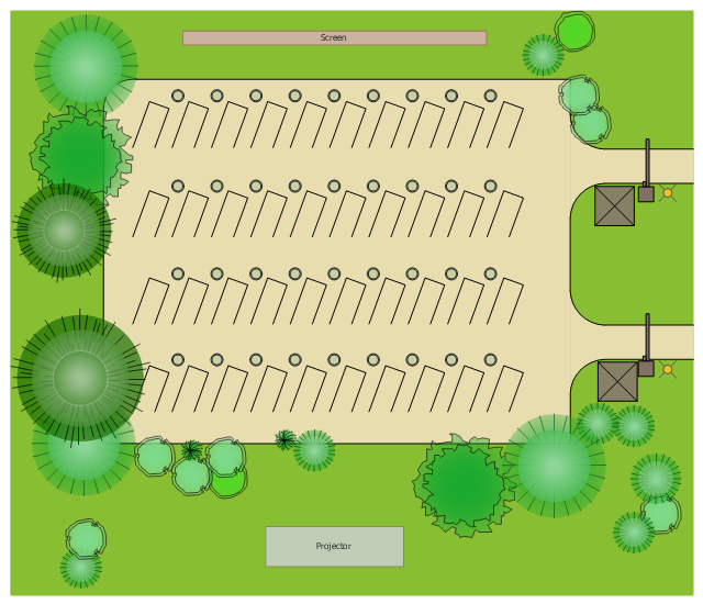 Site plan, security gate, security booth, parking stall, ornamental grass, lamp post, end island, deciduous tree, deciduous shrub, corner curb, conifer tree, conifer shrub, bollard,