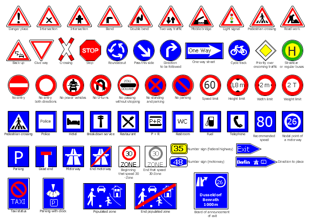 Road signs, width limit, weight limit, two-way traffic, telephone, taxi status, streetcar or regular buses, stop, speed, zone, end, speed, zone, speed limit, roundabout, road work, restroom, WC, restaurant, recommended speed, priority over oncoming traffic, populated zone, police, pedestrian crossing, pass this side, parking with clock, parking, one-way street, number sign, motorway, number sign, federal highway, nodal point of a motorway, no standing and parking, no power vehicles, no passing without stopping, no parking, no entry both directions, no entry, no U-turns, motorway, mobile bridge, light signal, intersection, hotel, height limit, give way, fuel, exit, end populated zone, end motorway, double bend , direction to place, direction to be followed, dead end, danger place, cycle track, crossing, breakdown service, board of announcement of exit, bend, back-up, P + R,