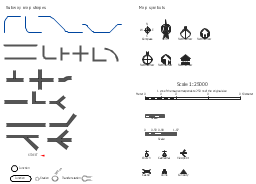 Map symbols, viewpoint, transfer station, stop, station, scale, ruins, line, junction, curiosity, crossing, corner, compass, direction, church, cathedral, castle, North, 4-way, 3-way,