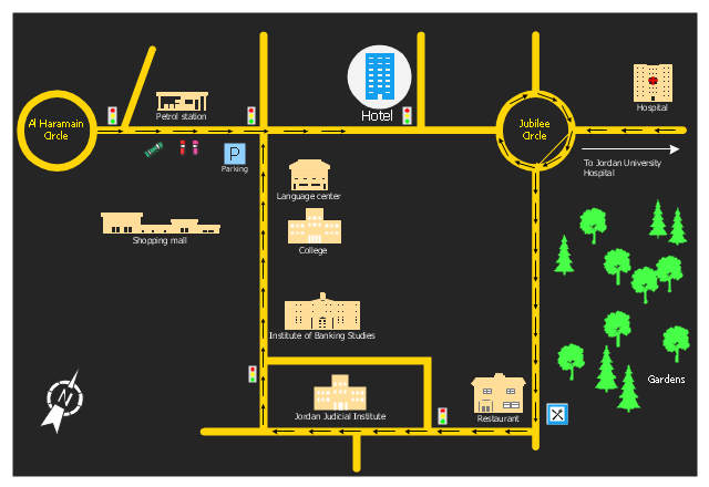 Hotel location map, tree, town hall, stop light, shopping centre, school, roundabout, road, restaurant, public house, petrol station, parking, hospital, fir-tree, corner, compact car, car, building, North,